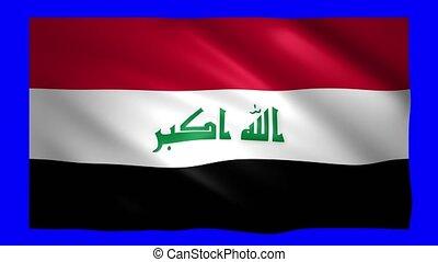Iraq flag on green screen for chroma key