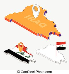 iraq flag on map element with 3d isometric shape isolated on background vector illustration