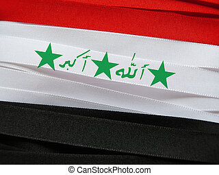 Iraq flag or banner made with red, white and black ribbons