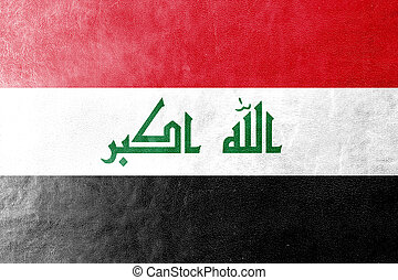Iraq Flag painted on leather texture