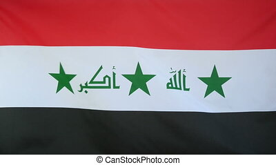 Iraq Flag real fabric close up - Textile flag of Iraq with...