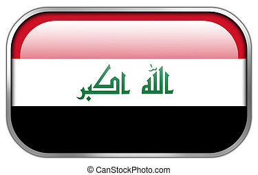 Iraq Flag rectangle glossy button