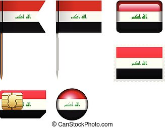 Iraq flag set on a white background.