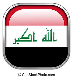 Iraq Flag square glossy button