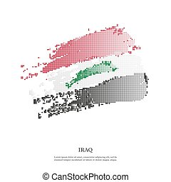 Iraq flag with halftone effect. - Iraq flag with halftone...