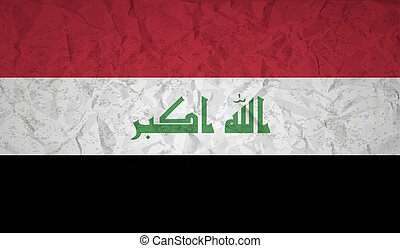 Iraq flag with the effect of crumpled paper and grunge -...