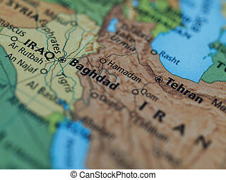 Iraq Iran map - Map of Iraq Iran area with selective focus...