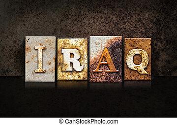 Iraq Letterpress Concept on Dark Background - The word...