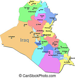 Iraq map - Color Iraq vector map with regions over white