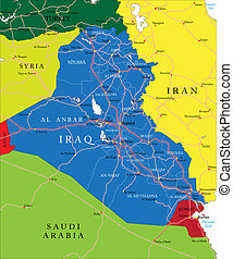 """""""Highly detailed vector map of Iraq with administrative regions, main cities and roads."""""""