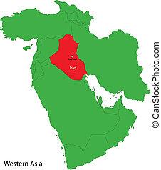Iraq map - Location of Iraq on Western Asia