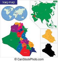 Iraq map - Map of administrative divisions of Iraq