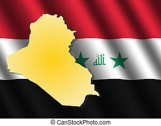 Iraq map on flag - Iraq map on rippled flag illustration