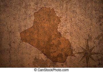 iraq map on vintage crack paper background