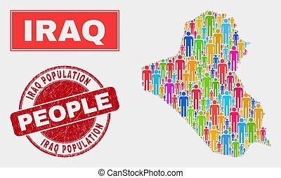 Iraq Map Population People and Rubber Stamp