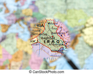 Iraq map viewed through magnifying glass. Other Magnifying...