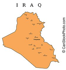 Iraq map with cities: Baghdad, Mosul, Basra, Arbil, Amara and others.