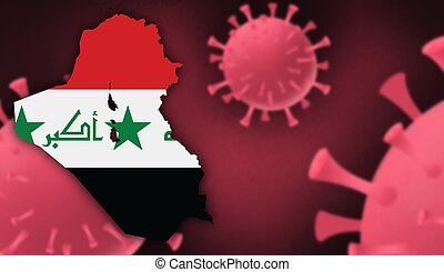 Iraq  map with flag pattern on  corona virus update on corona virus background, space for add text,information,report new case,total deaths,new deaths,serious critical,active cases