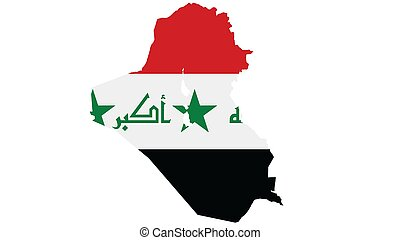 Iraq map with flag texture on  white background, illustration,textured , Symbols of Iraq ,for advertising ,promote, TV commercial, ads, web design, magazine, news paper, report