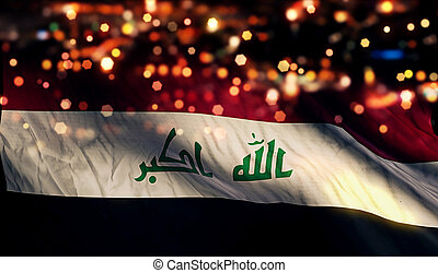 Iraq National Flag Light Night Bokeh Abstract Background