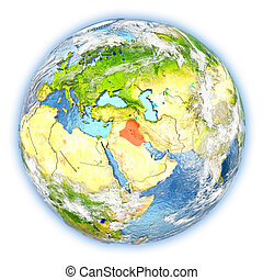 Iraq on Earth isolated - Iraq highlighted in red on planet...