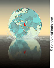 Iraq on globe splashing in water