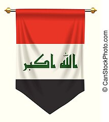 Iraq Pennant - Iraq flag or pennant isolated on white