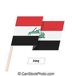 Iraq Ribbon Waving Flag Isolated on White. Vector ...