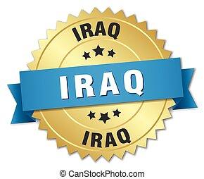 Iraq round golden badge with blue ribbon