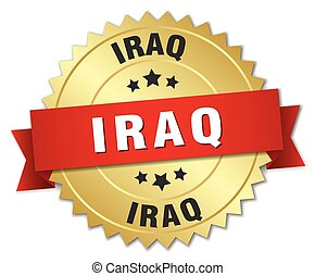 Iraq round golden badge with red ribbon