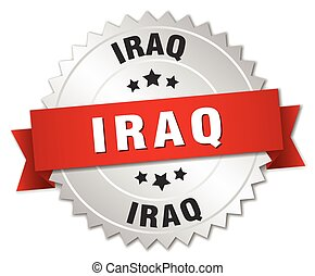 Iraq round silver badge with red ribbon