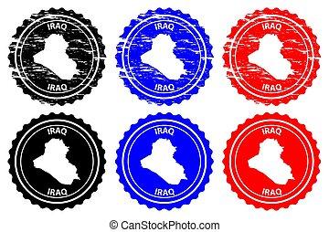 Iraq - rubber stamp - vector, Republic of Iraq map pattern -...
