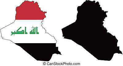 Iraq  - vector map and flag of Iraq with white background.