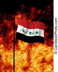Iraq War - The Iraq flag flies in front of a war torn...