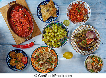 Iraqi cuisine, Asia Traditional assorted dishes, Top view.