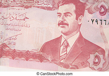 Iraqi dinar 2 - An Iraqi 5 dinar note, from the Ba'athist...