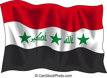 Iraqi flag - Waving flag of Iraq isolated on white