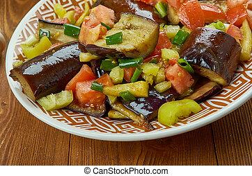 Iraqi Fried Aubergine Molasses Salad close up