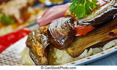 Iraqi Maklouba with Eggplant, Asia Traditional assorted...