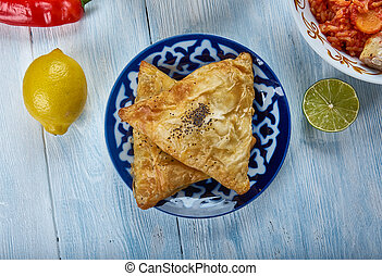 Iraqi Samsa, Asia Traditional assorted dishes, Top view.