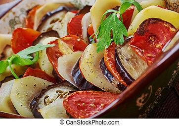 Iraqi Tapsi is fried potatoes, eggplant, zucchini sometimes...