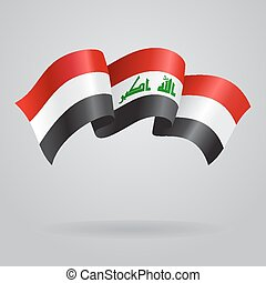 Iraqi waving Flag. Vector illustration