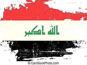 iraque, arranhado, bandeira