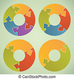 ?ircle infographic chart with puzzle like arrow locks.