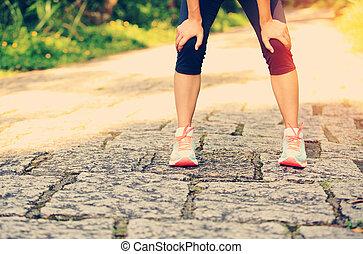 ired, 女性, 賽跑的人, 拿, a, 休息