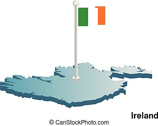 Ireland 3d vector map with national flag