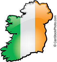 Ireland - An artistic rentering of this country's map and...