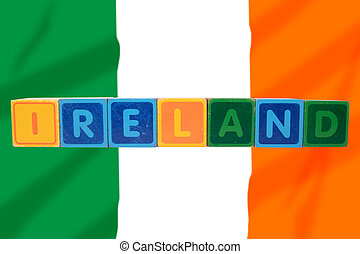 ireland and flag in toy block letters