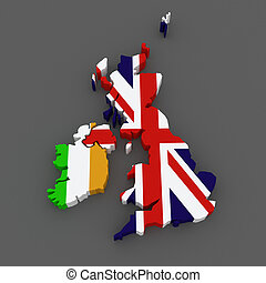Ireland and Great Britain. map.