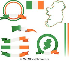 Set of vector graphic banners and ribbons representing the Republic of Ireland.